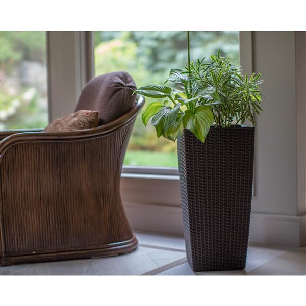 "Algreen Products Wicker Planter - Self-Watering - 30"" - Rattan - Coffee"