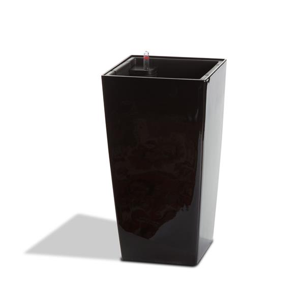 "Algreen Products Modena Planter with Watering Tray - 16"" - Glossy Black"