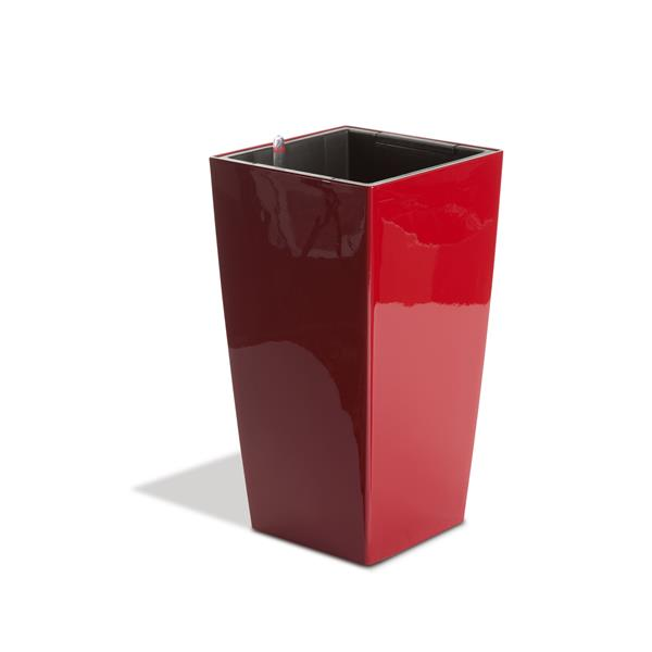 """Algreen Products Modena Planter with Watering Tray - 16"""" - Glossy Red"""