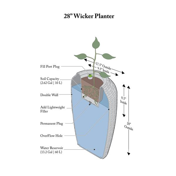 """Algreen Products Wicker Self-Watering Planter - 28"""" x 17.5"""" - Brown"""