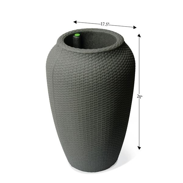 """Algreen Products Wicker Self-Watering Planter - 28"""" x 17.5"""" - Taupe"""