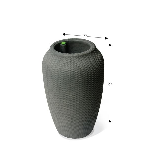 "Algreen Products Wicker Self-Watering Planter - 24"" x 15.5"" - Taupestone"