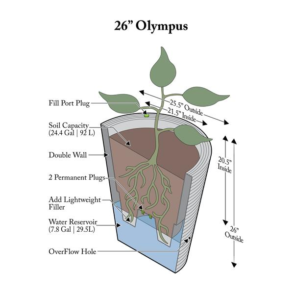 "Algreen Products Olympus Self-Watering Planter - 26"" x 26"" - Brown"