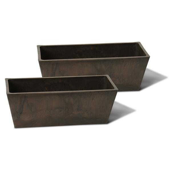 "Algreen Products Windowsill Planters - 14"" x 5.5"" - Chocolate - 2 pcs"
