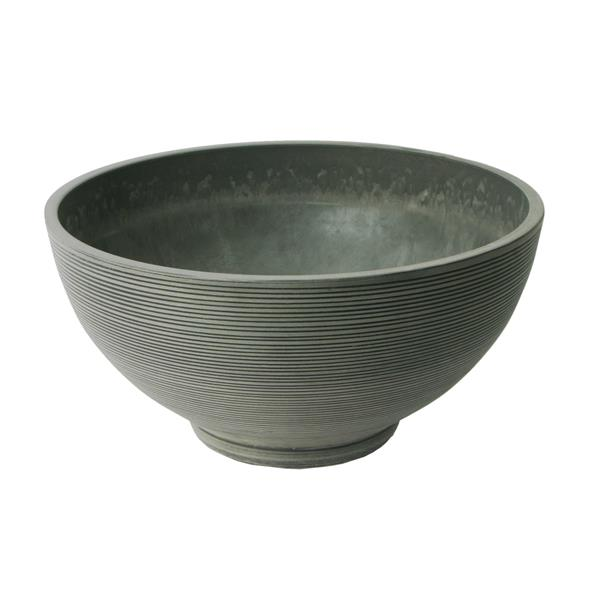 "Algreen Products Valencia Bowl Planter - 20"" x 10"" - Composite - Charcoal"