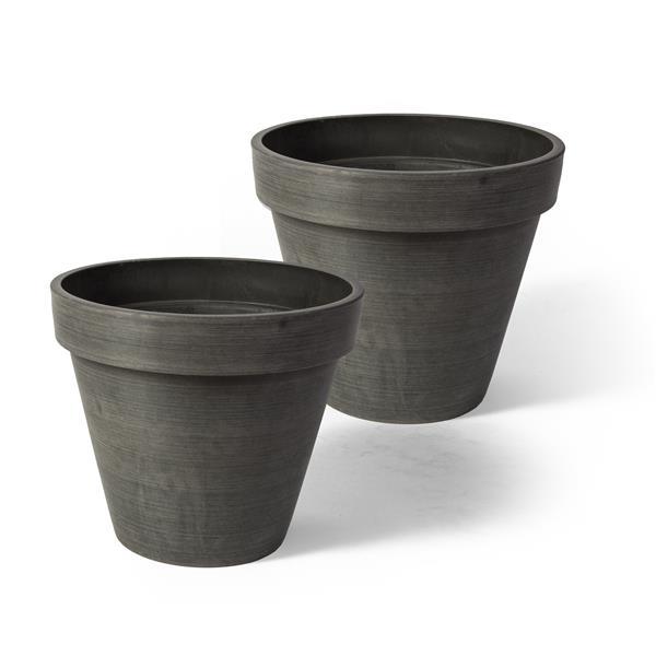 "Algreen Products Valencia Round Planters - 10"" x 8"" - Charcoal - 2 pcs"