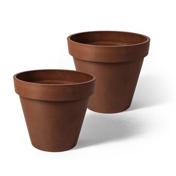"Algreen Products Valencia Round Planters - 10"" x 8"" - Terracotta - 2 pcs"