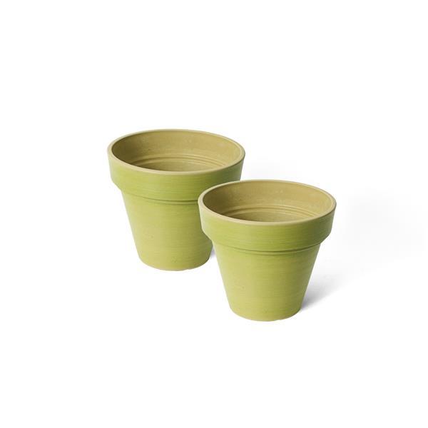 "Algreen Products Valencia Round Planters - 8"" x 7"" - Green - 2 pcs"