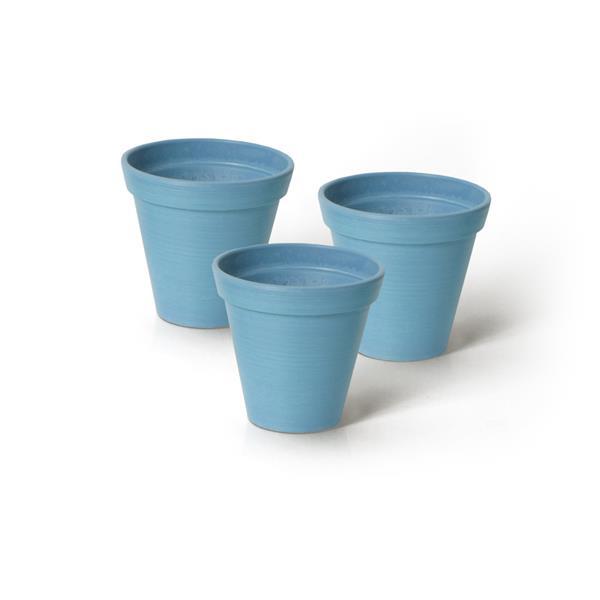 "Algreen Products Valencia Round Planters - 4.25"" x 4"" - Blue - 3 pcs"