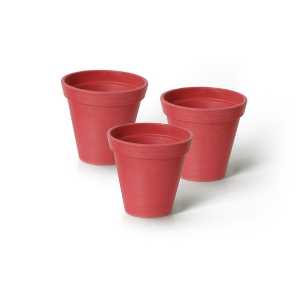 """Algreen Products Valencia Round Planters - 4.25"""" x 4"""" - Red - 3 pcs"""