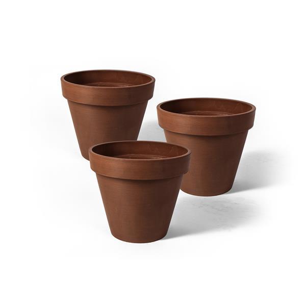 "Algreen Products Valencia Round Planters - 4.25"" x 4"" - Terracotta - 3 pcs"