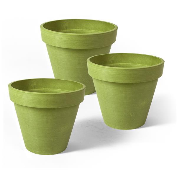 "Algreen Products Valencia Round Planters - 4.25"" x 4"" - Green - 3 pcs"