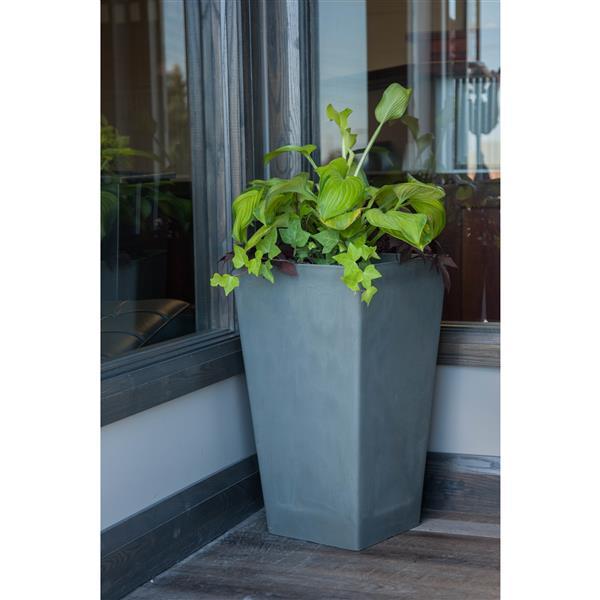 "Algreen Products Valencia Square Planter with shelf - 16"" x 32"" - Gray"