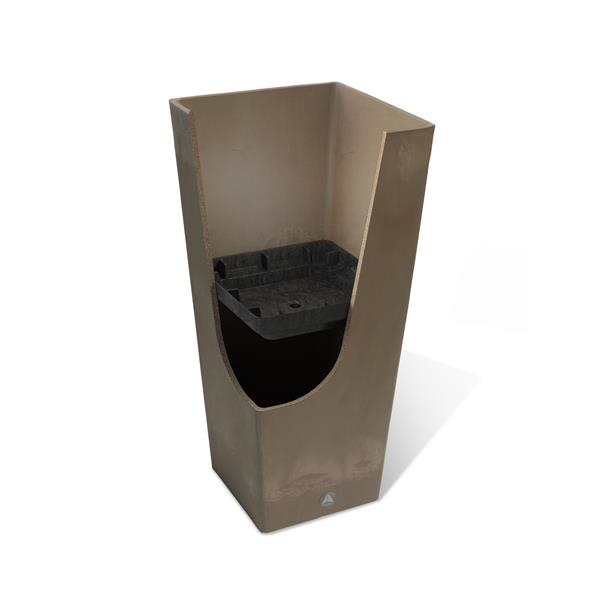 "Algreen Products Valencia Square Planter - 13"" x 28"" - Composite - Black"