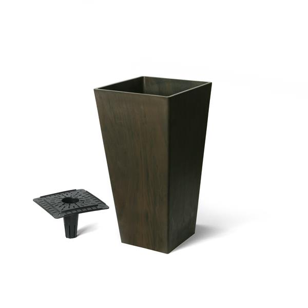 """Algreen Products Valencia Square Planter with Tray - 10"""" x 20"""" - Chocolate"""