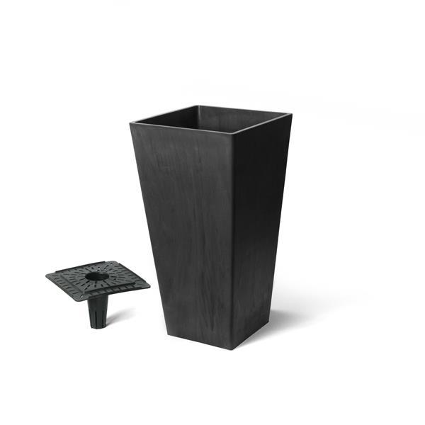 "Algreen Products Valencia Square Planter with Tray - 10"" x 20"" - Black"