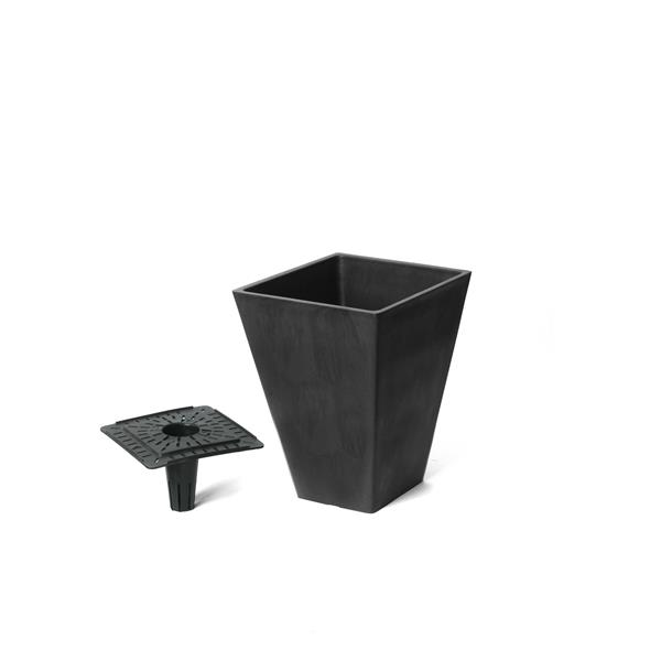 "Algreen Products Valencia Square Planter with Tray - 10"" x 13"" - Black"