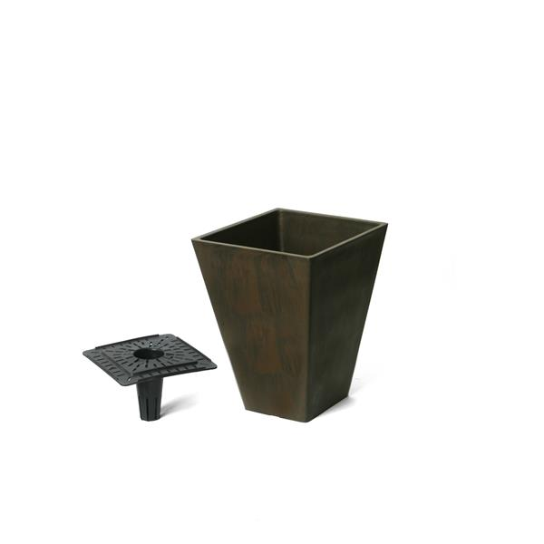 "Algreen Products Valencia Square Planter with Tray - 10"" x 13"" - Chocolate"