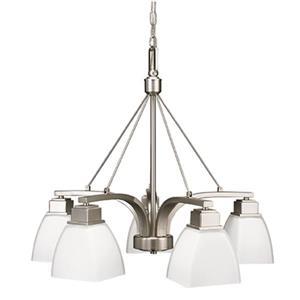 Luminaire suspendu Trenton, 5 lumières, chrome brossé