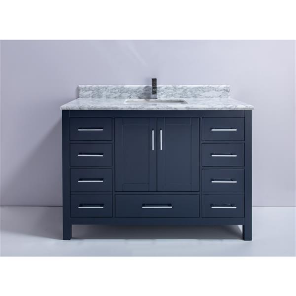 GEF Willow Vanity with Carrara Marble Top, 48-in RoyalBlue