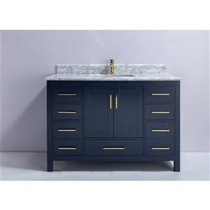 GEF Meuble-lavabo Willow avec comptoir en marbre , 48 po. bleu royale