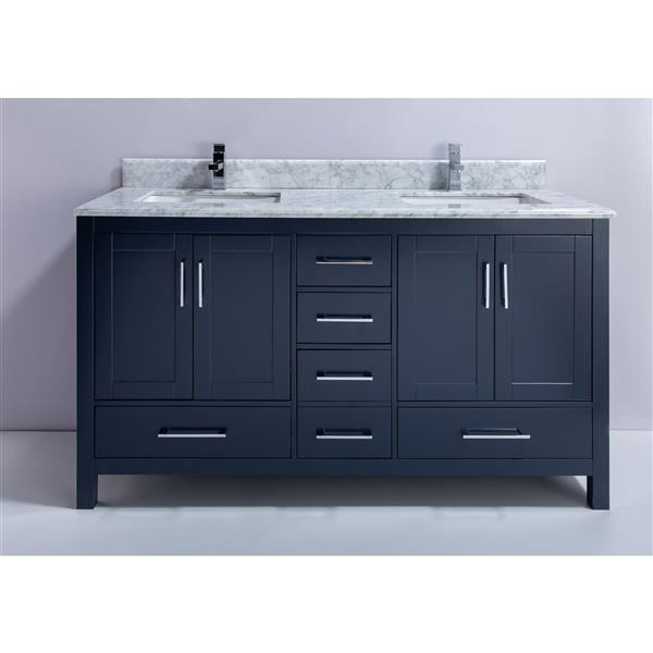 GEF Willow Vanity with Carrara Marble Top, 60-in RoyalBlue