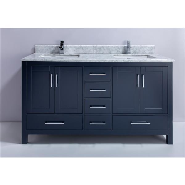 GEF Meuble-lavabo Willow avec comptoir en marbre , 60 po. bleu royale