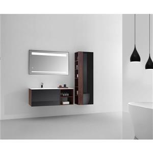 GEF Meuble-lavabo Sage avec miroir LED et armoire à linge, 48 po. noyer