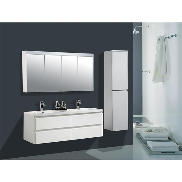 GEF Scarlett Vanity Set with LED Medicine Cabinet, 60-in white