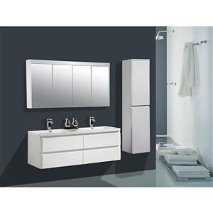 GEF Meuble-lavabo Scarlett avec armoire à pharmacie LED, 60 po. blanc