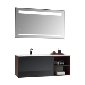 GEF Sage Vanity Set with LED mirror, 48-in Walnut