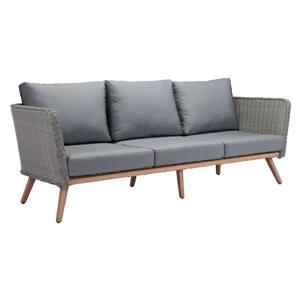 Sofa extérieur 3 places Monaco, naturel et gris, 87.4