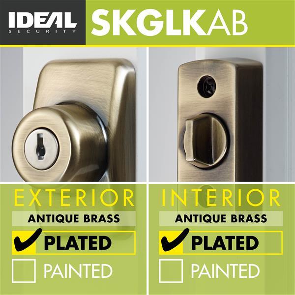 Ideal Security Keyed Deadbolt - Antique Brass