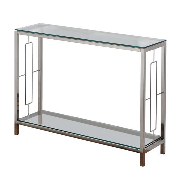 "Table d'appoint, 42,25"" x 30"", verre, argent"