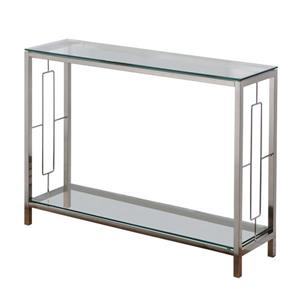 Worldwide Home Furnishings Console Table - 42.25-in x 30-in - Glass - Silver