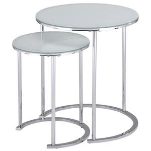 Worldwide Home Furnishings Nesting tables - Glass - Silver - 2 Pcs