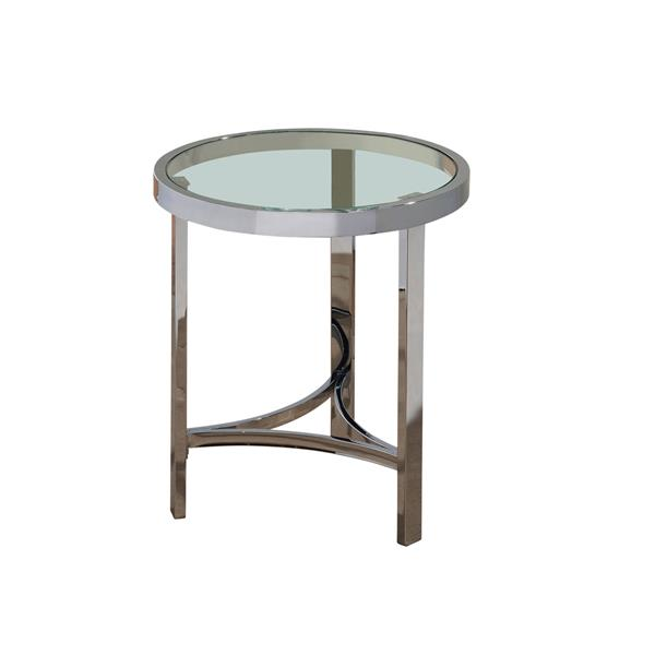 """End table - 20"""" x 23"""" - Glass - Silver"""