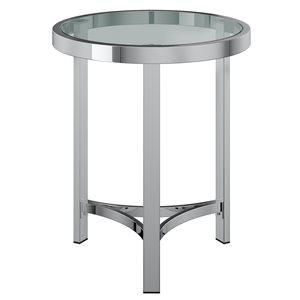"Table d'appoint, 20"" x 23"", verre, argent"