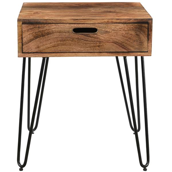 Worldwide Home Furnishings End table - 19.75-in x 23.5-in - Wood - Brown