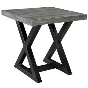 "Table d'appoint, 23,75"" x 24,5"", bois, gris"