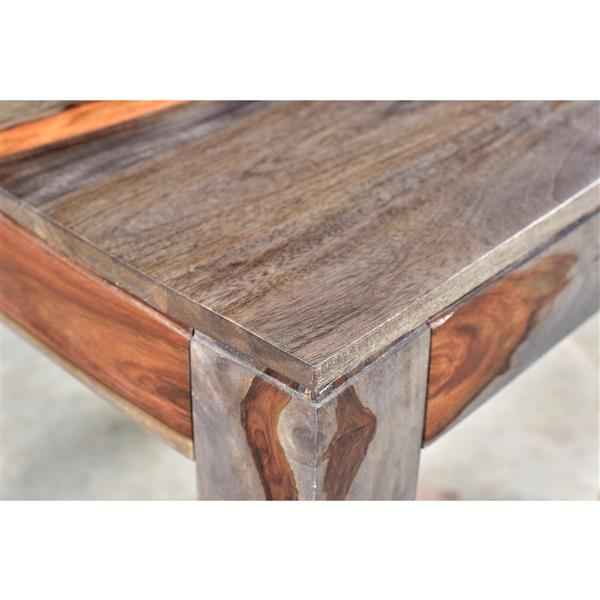 Worldwide Home Furnishings Coffee Table - 43.25-in x 17.75-in - Wood - Natural/Gray