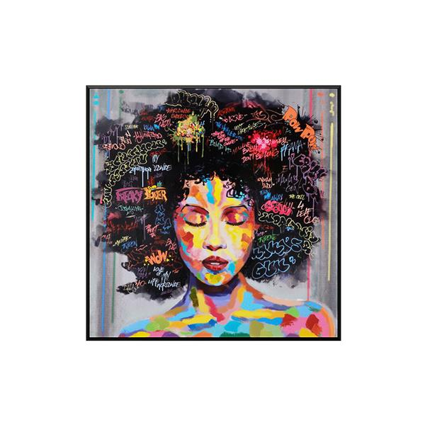 Stella.B Decor ALYS Framed Canvas with Black Frame - 36-in x 36-in