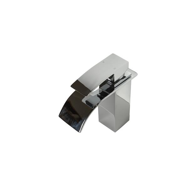 Sera Bathroom Vanity Faucet Waterfall, white and chrome