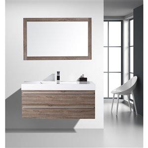 GEF Rosalie 48-in Soft Oak Single Sink Bathroom Vanity Set with White Acrylic Top and Mirror