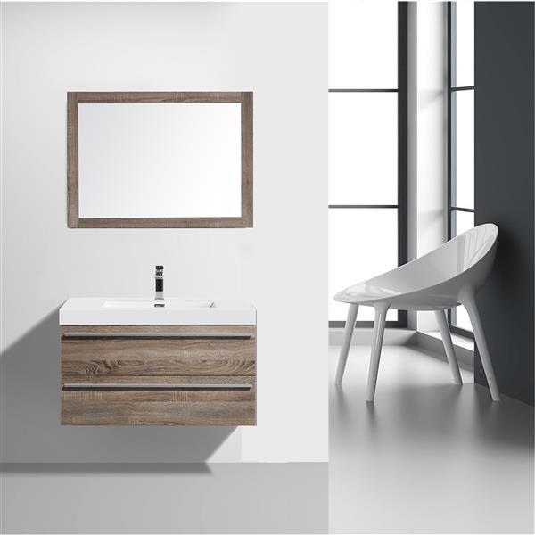GEF Rosalie Vanity Set with Mirror, 36-in Soft Oak
