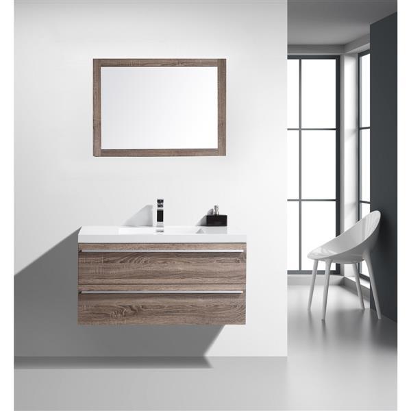 GEF Rosalie Vanity Set with Mirror, 43-in Soft Oak