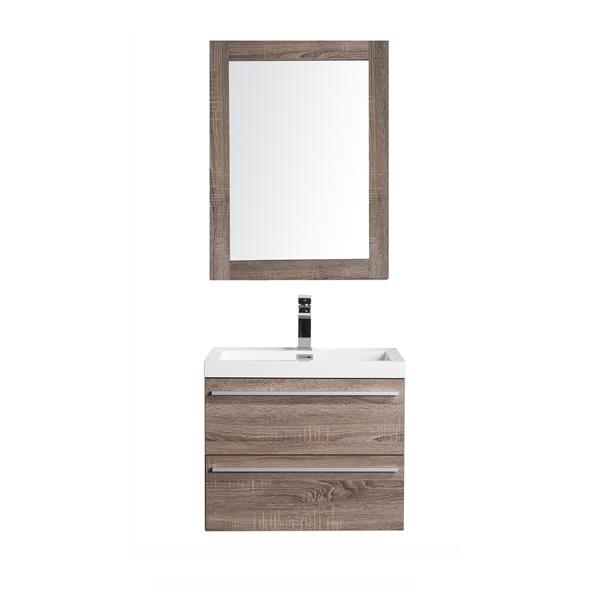 GEF Meuble-lavabo Rosalie avec miroir, 24 po. chêne clair