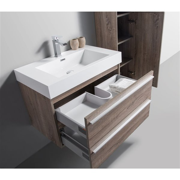 GEF Rosalie Vanity Set with Mirror, 30-in Soft Oak
