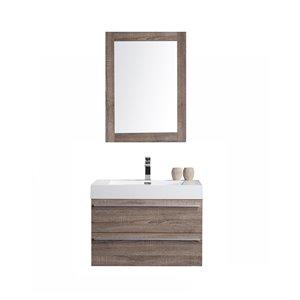 GEF Meuble-lavabo Rosalie avec miroir, 30 po. chêne clair