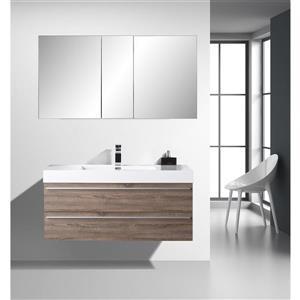 GEF Meuble-lavabo Rosalie avec armoire à pharmacie, 48 po. chêne clair